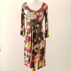 Boden multicolored circles ruched waist dress 6R